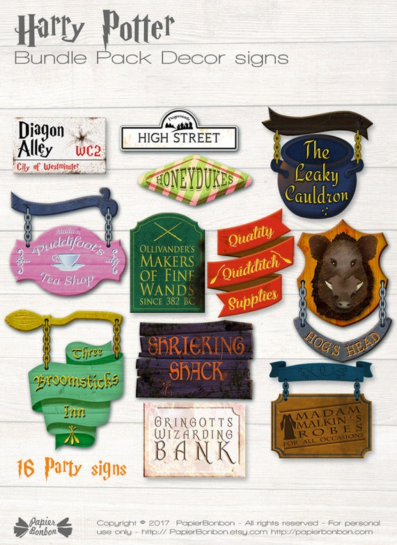 photograph regarding Harry Potter Signs Printable identify Retail store indications Decor printable, PDF Information, encouraged through Harry Potter Hogsmeade and Diagon Alley, 16 wizard bash indications, Harry Potter Celebration decor