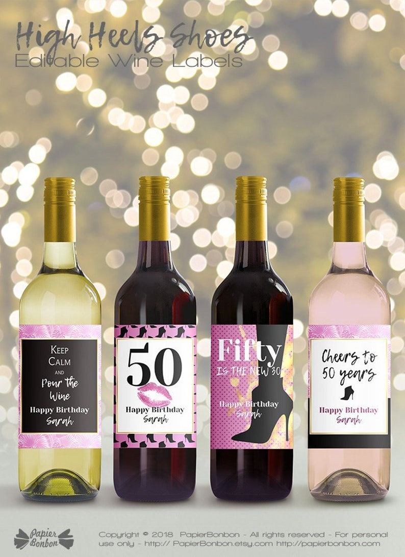 Editable Wine Bottle Labels for 50th Birthday printable image 0