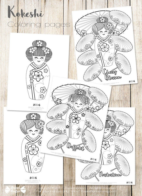 Coloring Pages Geishas Kokeshi Japanese Dolls Flowers And