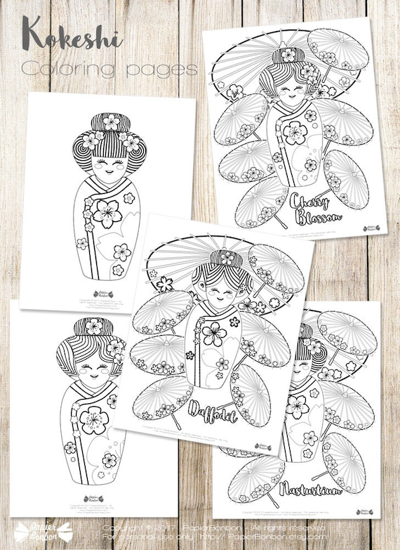 Coloring pages Geishas - Kokeshi, Japanese dolls, flowers and umbrella drawings to color, Rainy day activity for children, instant download