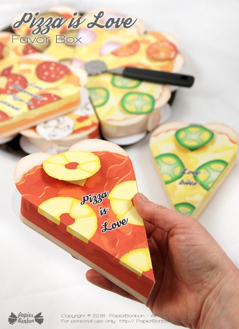 Pizza Party favor box 7 Pizza box for Valentine's day  image 0