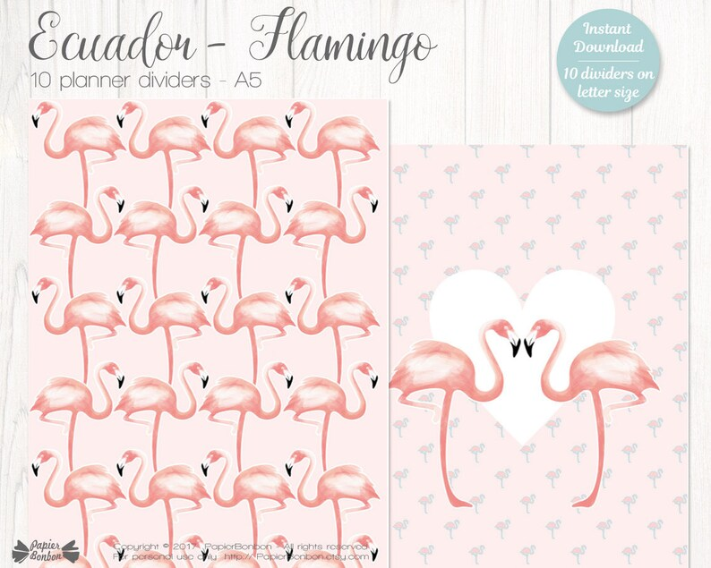 10 Flamingo A5 Planner Dividers  Flamingo A5 Size Planner image 0