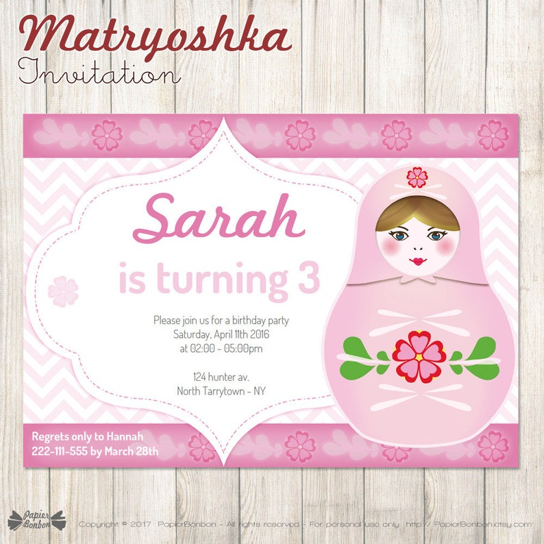 Matryoshka Party Invitation Instant download 5x7 editable image 0