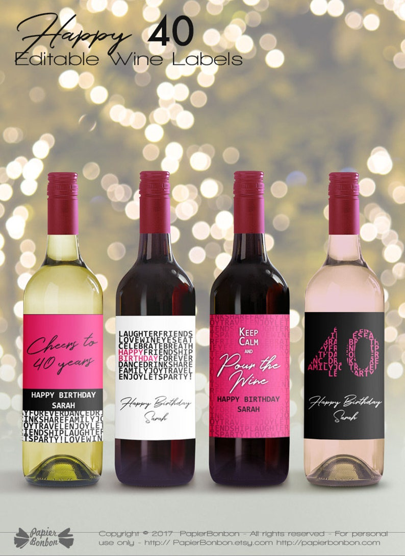 Editable Wine Bottle Labels for 40th Birthday printable image 0