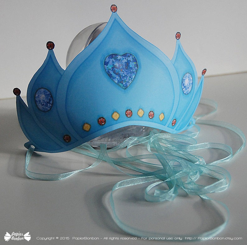 Crown printable frozen blue with diamond heart for dress up image 0
