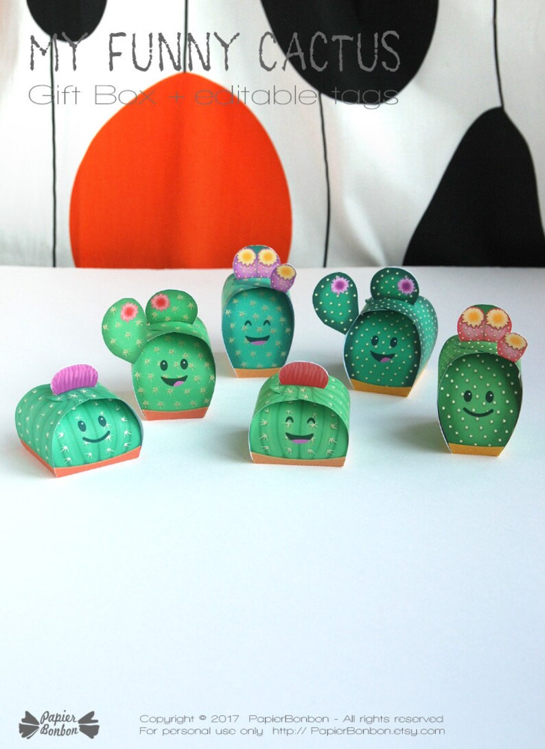 Cactus gift boxes Printable  6 funny cactus party image 0