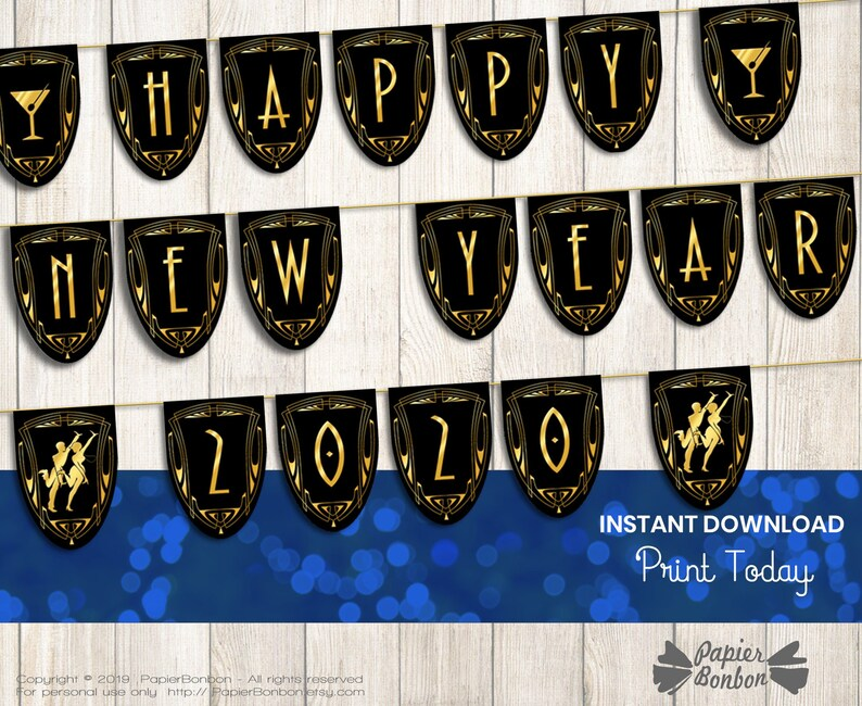 Gatsby Happy new year banner 2020 printable roaring 1920 new image 0