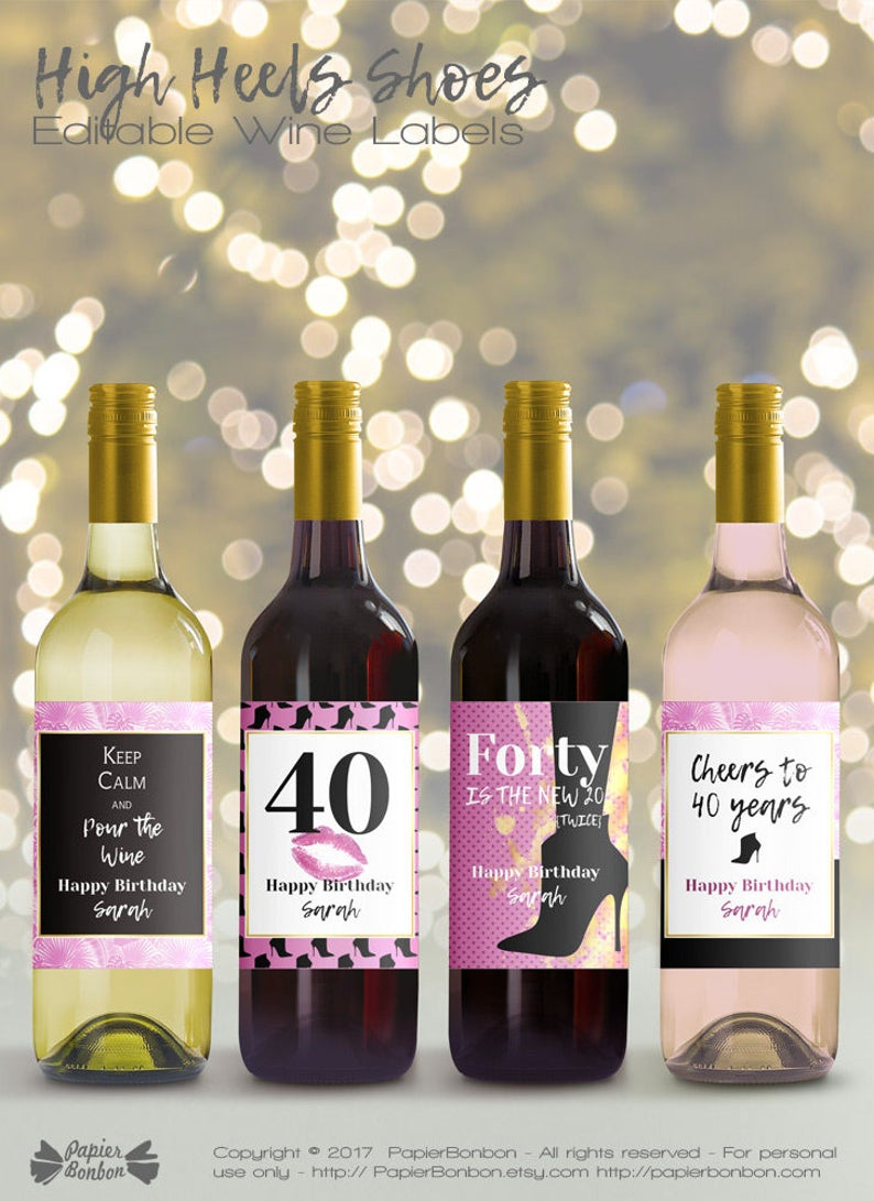 Editable Wine Bottle Labels For 40th Birthday Printable