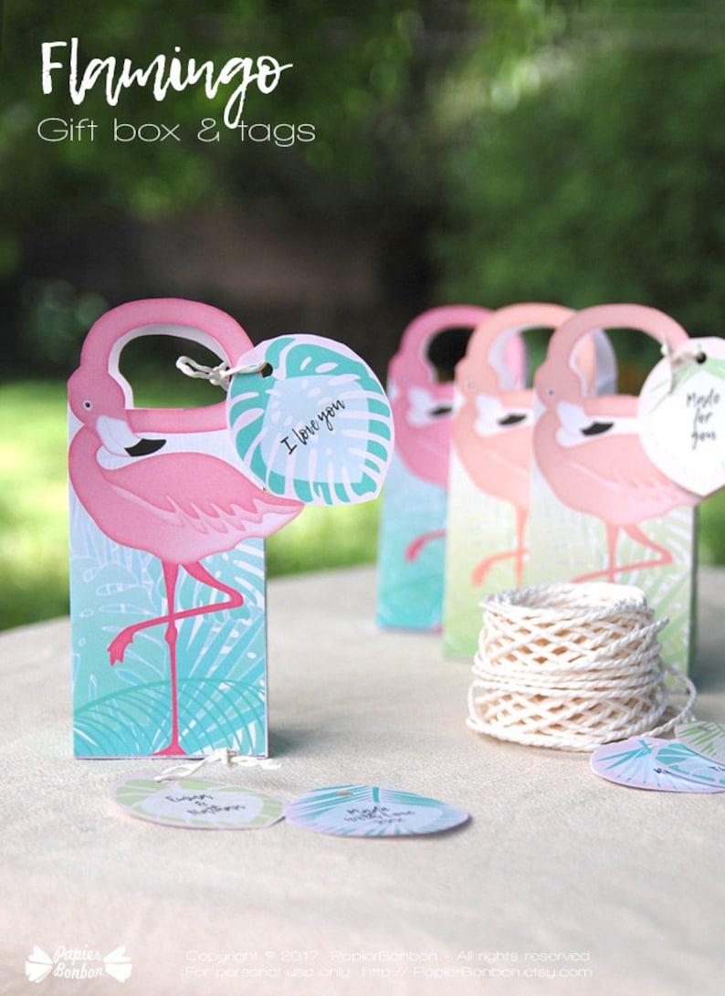 Flamingo Party Gift Box Printable Flamingo favor bag  image 0