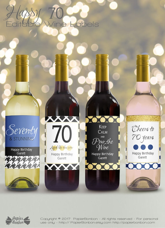 Editable Wine Bottle Labels For 70th Birthday Printable Black
