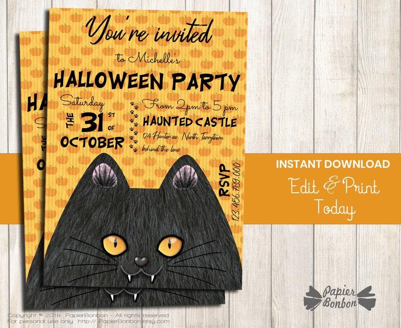 Halloween cat Invitation Instant Download editable cat image 0
