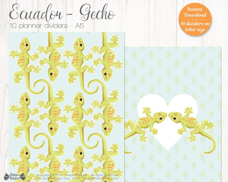 10 Gecko A5 Planner Dividers  Gecko A5 Size Planner Printable image 0