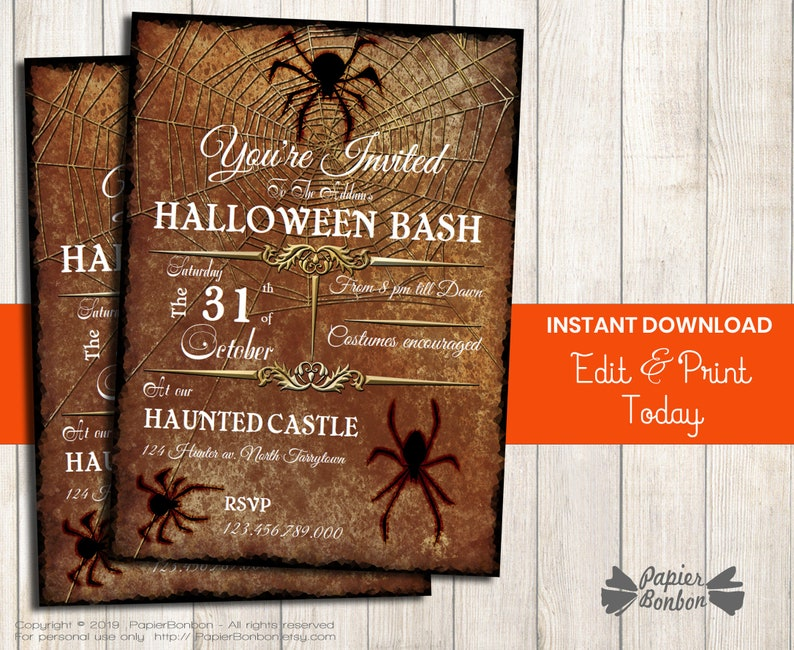 Halloween Invitation with spiders Instant Download editable image 0