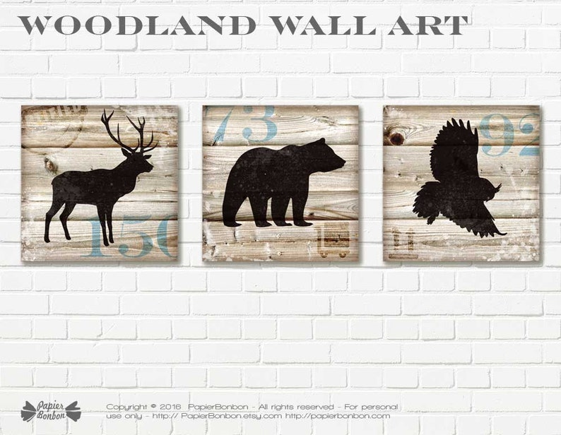 Woodland wall art  3 wood art digital prints home Art print image 0