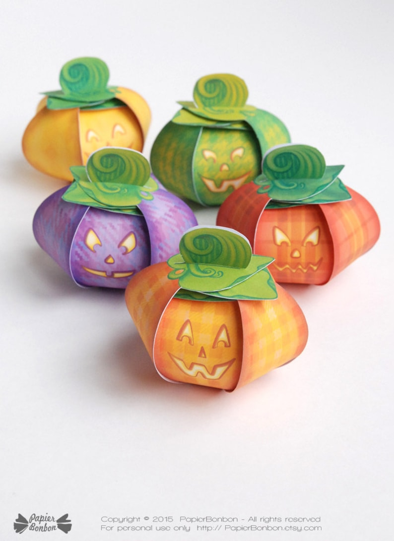 Pumpkin favor boxes Printable  5 pumpkin gift boxes  image 0