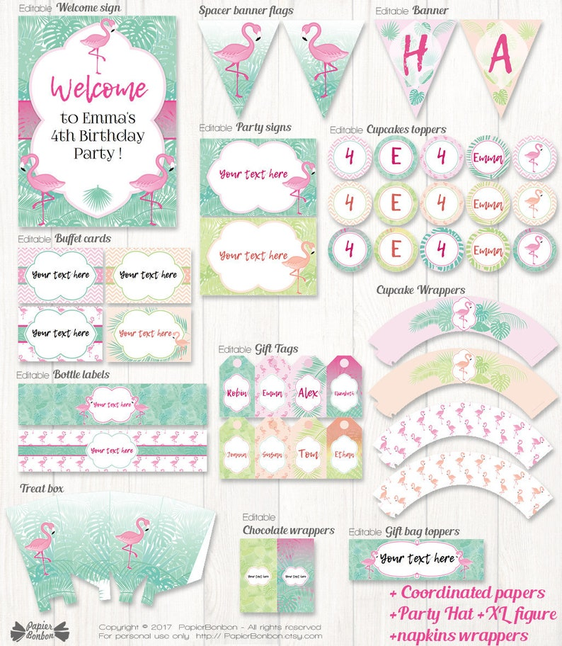 Flamingo Party Printable 19 Flamingo party decorations for image 0
