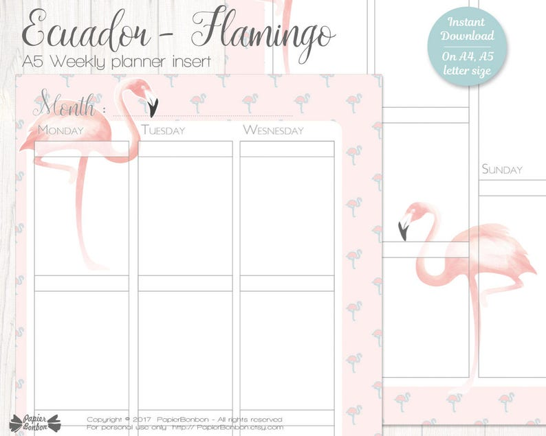 Flamingo planner Printable Flamingo weekly planner inserts A5 image 0