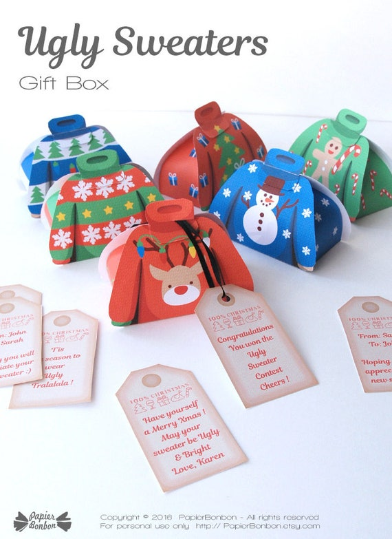dec4639790372a Ugly Christmas Sweater gift box Printable Ugly sweater