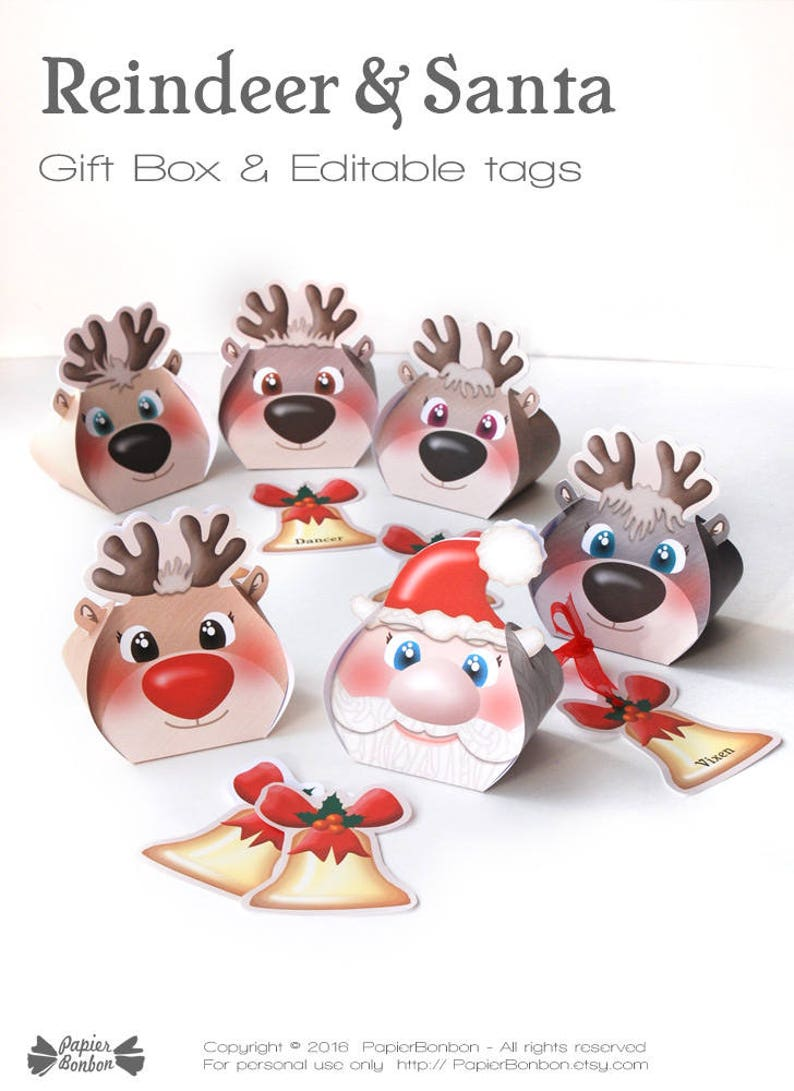 Reindeers treat box printable for Christmas party 10 funny image 0