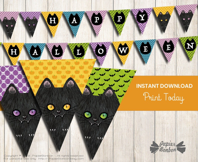 Halloween cat bunting banner with colorful patterns printable image 0