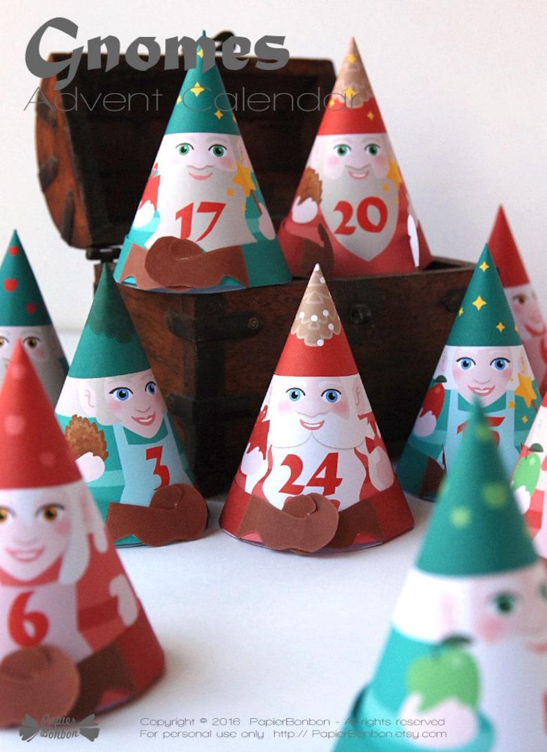 DIY Advent calendar printable  24 cute Gnomes Advent boxes image 0