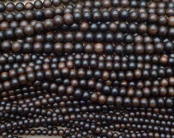 Natural Tiger Ebony Wood Round Beads Various Sizes 16'' Strand