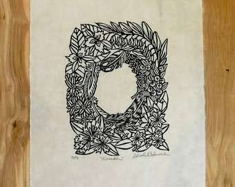 Wreath Original Woodblock Print
