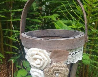 Shabby chic Flower Girl Basket , Wedding Bucket Flower Girl Basket