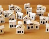 Pack of 24 DIY Small Putz style glitter houses. Unassembled corrugated cardboard houses vilage. Make your own decorative house vilage