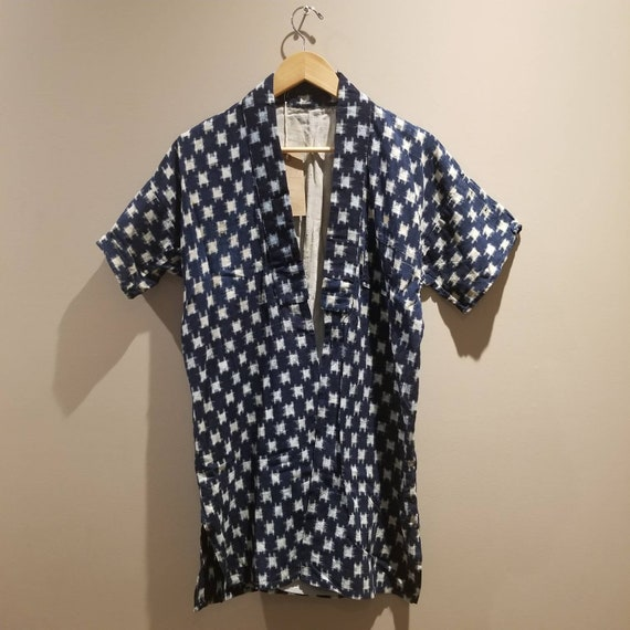 Antique Japanese Vintage Folk Short Sleeves Indigo