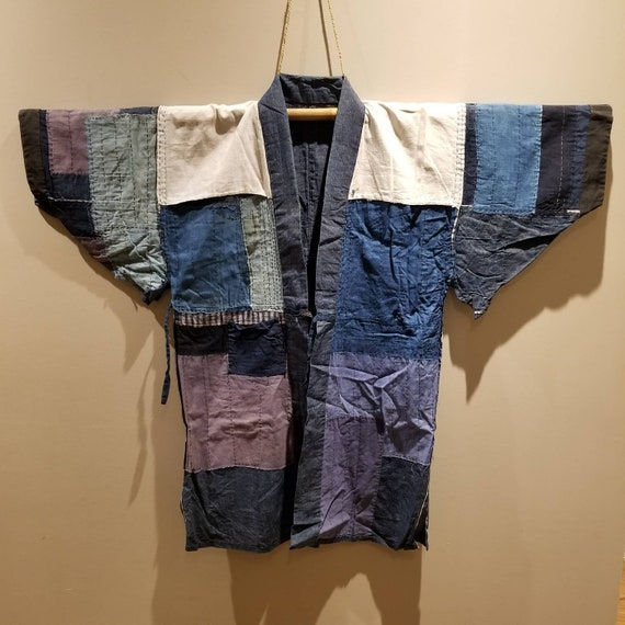 Antique Japanese Indigo Boro Patchwork Sashiko Rev
