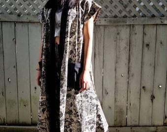 Black White Dragon Long Monk Vest Kimono noragi robe