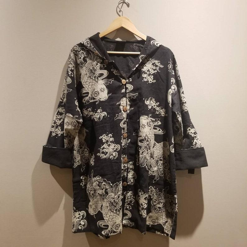 Black Koi Art hoodies Jacket button up