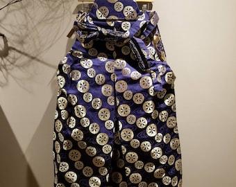 Vintage Japanese Traditional Hakama Samurai Pants with Golden Kamon Design