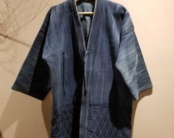 Vintage Sashiko Aizome Indigo Kendo Swordsman Jacket XL