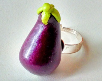 Eggplant Ring - Miniature Food Jewelry - Inedible Jewelry - Fruit Jewelry - Fake Food Ring - Kawaii Jewelry - Kid's Jewelry - Kawaii Jewelry