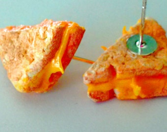 Grilled Cheese Stud Earrings - Miniature Food Jewelry - Kid's Jewelry - Inedible Jewelry - Junk Food Jewelry, Cheese Jewelry, Kawaii Jewelry