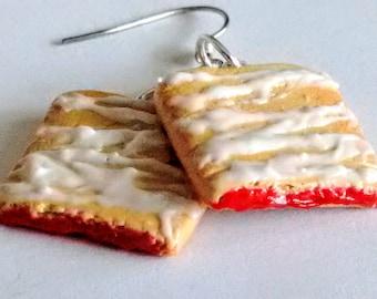 Strawberry Toaster Strudel Earrings - Miniature Food Jewelry - Inedible Jewelry, Breakfast Jewelry, Kid's Jewelry, Pastry, Fake Food Jewelry