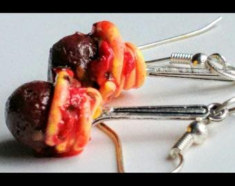 Spaghetti and Meatballs w/Forks Earrings - Miniature Food Jewelry - Italian Food, Gifts for Foodies, Inedible Jewelry, Kid's Jewelry, Kawaii
