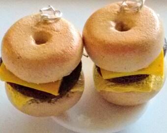 Sausage, Egg and Cheese Bagel Breakfast Sandwich Earrings - Miniature Food Jewelry - Bagel Earrings - Fake Food Jewelry, Inedible Jewelry