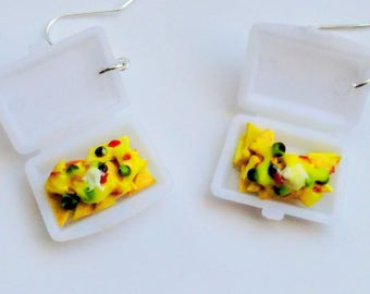 Cheese Nachos Takeout Earrings, Miniature Food Jewelry, Inedible Jewelry - Nachos Supreme Takeout Earrings, Cheese Nachos, Fake Mexican Food