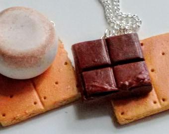 S'mores Best Friends Necklaces - Miniature Food Jewelry - Inedible Food Jewelry - Kawaii Jewelry - Best Friends Jewelry - Smores Jewelry