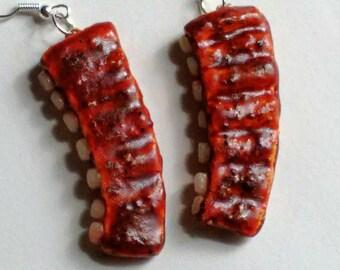 Grilled BBQ Ribs Earrings - Miniature Food Jewelry - Inedible Jewelry - Ribs Jewelry - Fake Food Jewelry - Kawaii Jewelry - Rack of BBQ Ribs