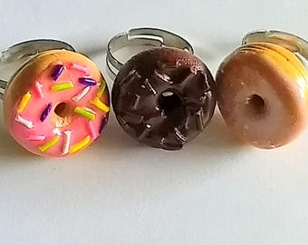 Donut Ring, Miniature Food Jewelry, Kid's Jewelry, Inedible Jewelry, Donut Jewelry, Doughnut Jewelry, Glazed Donut Ring, Pink vDonut Ring