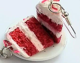 Red Velvet Cake Slice Earrings, Miniature Food Jewelry, Inedible Food Jewelry, Fake Food, Junk Food Jewelry, Cake Earrings, Kid's Jewelry