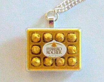 Ferrero Rocher Chocolate Necklace, Miniature Food Jewelry, Inedible Food Jewelry, Chocolate Candy Necklace, Kawaii Jewelry, Gifts for Her