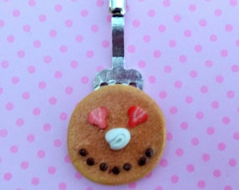 Happy Face Pancake Necklace, Miniature Food Jewelry, Inedible Jewelry, Pancake Jewelry, Breakfast Jewelry, Kawaii Jewelry, Fake Food Jewelry