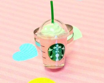 Strawberry Starbucks Coffee Frappuccino Ring, Miniature Food Jewelry, Inedible Jewelry, Kawaii Jewelry, Food Ring, Gift for Foodie, Coffee