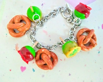 Carnival Food Charm Bracelet, Miniature Food Jewelry, Inedible Food Jewelry, Pretzel Jewelry, Food Charm, Candy Apple Jewelry, Gift for Her