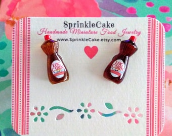 Bottle of Syrup Earrings, Miniature Food Jewelry, Inedible Food Jewelry, Breakfast Jewelry, Pancake Jewelry, Kawaii Jewelry, Gift for Foodie